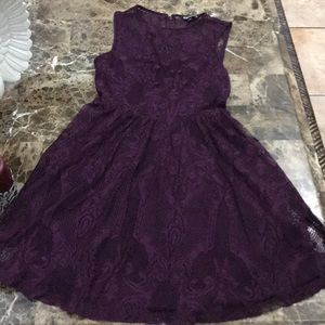lace dress,Eggplant , with zipper on the back